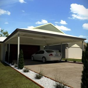 Photo Of A Carport With A White Car Under