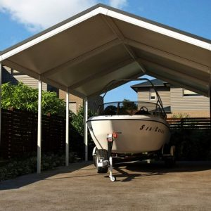 Carport With A Speed Boat