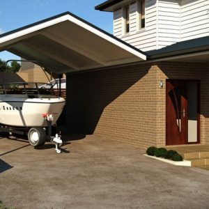 Photo Of A Carport And A Speed Boat
