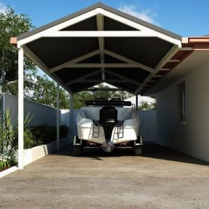 Photo Of A Carport With A Speed Boat Under