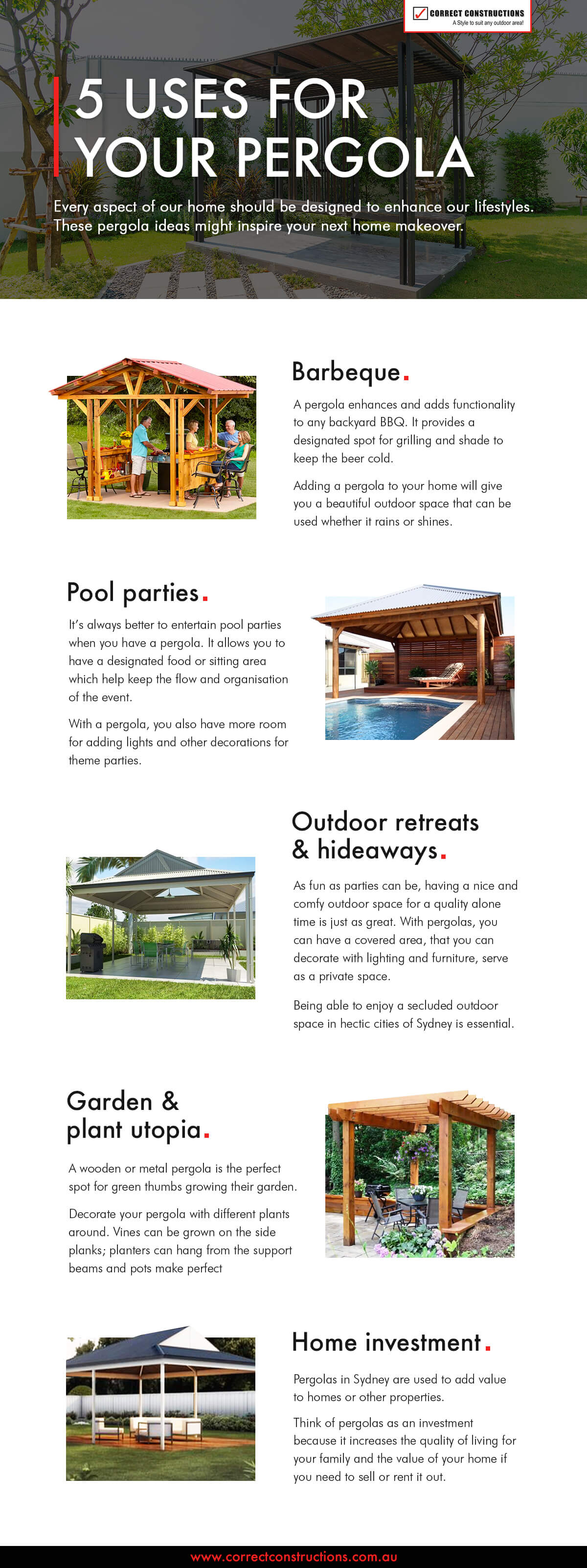5 uses for your pergola infographic
